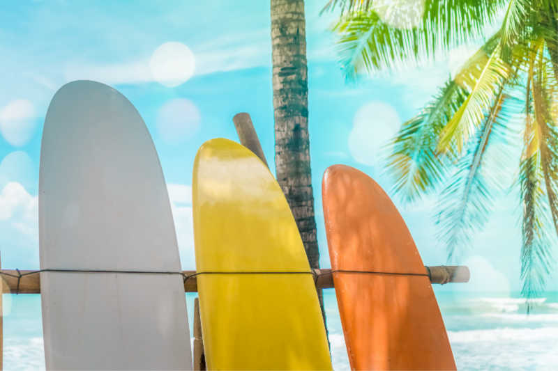 Three colorful surfboards on the beach | | All rights reserved by PANAMAEXPATINFO.COM