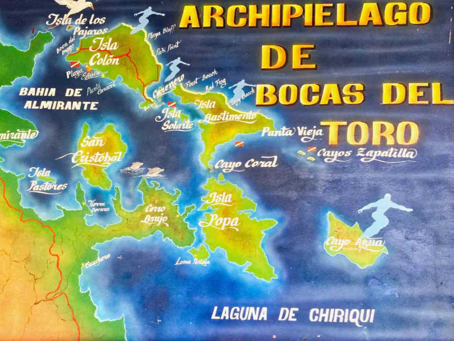 Map of Bocas Del Toro Islands | All Rights Reserved by PANAMAEXPATINFO.COM